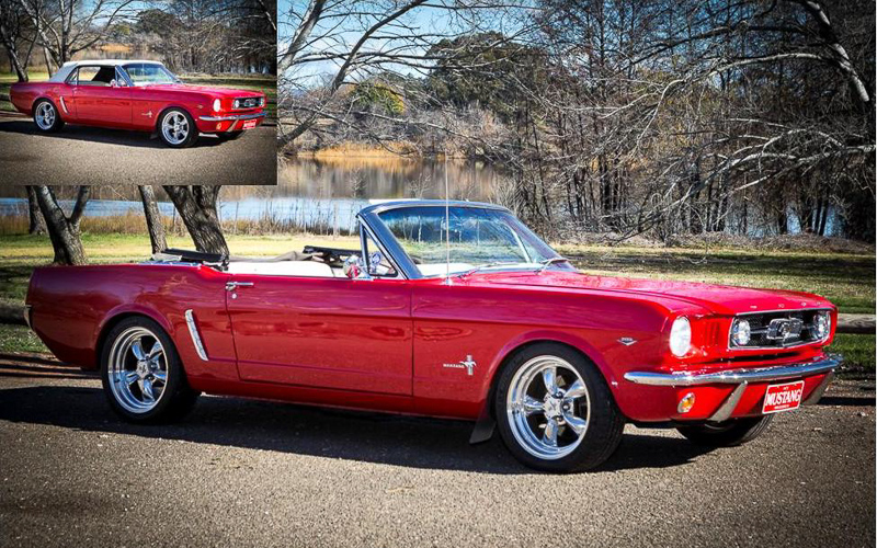 True Blue Wedding Cars Red 1965 Mustang Convertible